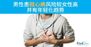 男性患冠心病风险较女性高 并有年轻化趋势