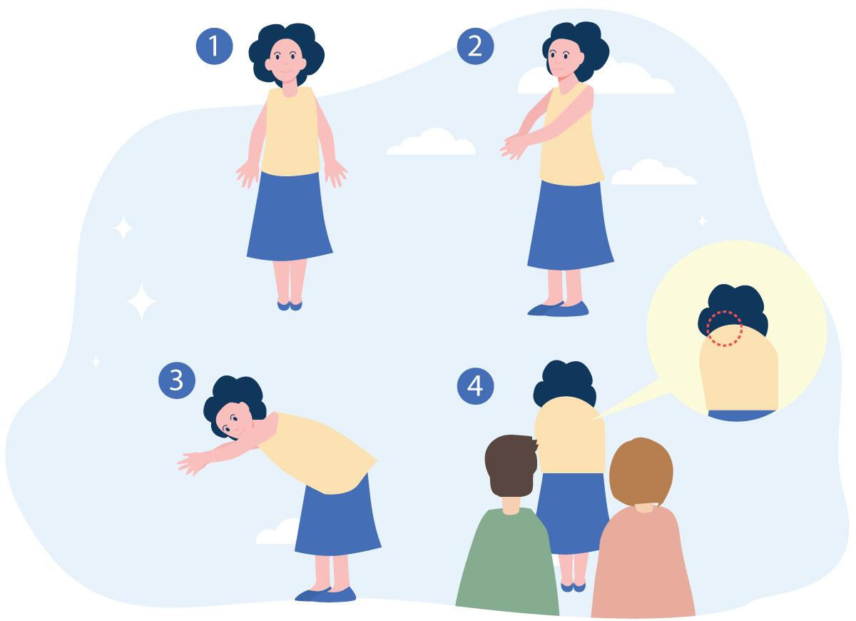 2. 孩子兩腳拍齊,雙膝伸直,雙手合十慢慢向前彎,  父母站在孩子背後,然後觀察孩子背部的兩側是否高低不對稱